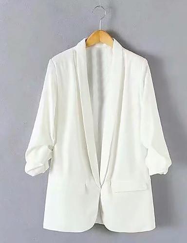 voordelige Damesblazers & jasjes-Dames Blazer Overhemdkraag Polyester Zwart / Wit / Rood