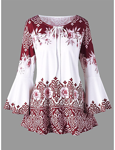 billige Topper til damer-T-skjorte Dame - Tribal, Trykt mønster Elegant Svart