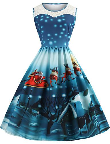 abordables Robes Femme-Femme Rétro Vintage Mi-long Trapèze Robe - Maille Mosaïque Imprimé, Animal père Noël Violet Bleu Rouge S M L Sans Manches