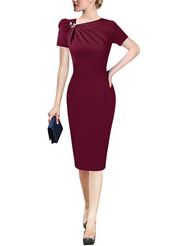 voordelige Maxi-jurken-Dames Standaard Elegant Schede Jurk - Effen Tot de knie