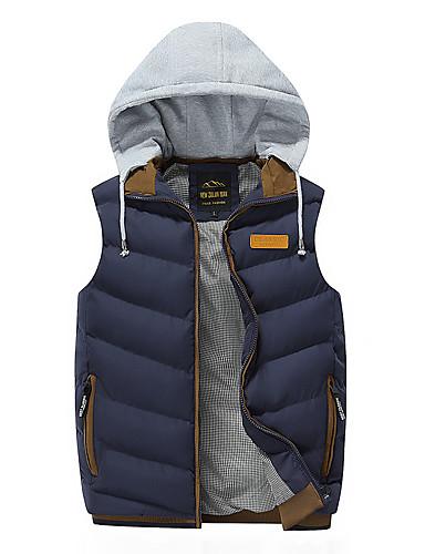 voordelige Heren donsjassen & parka's-Heren Effen Normaal Vest, Polyester Zwart / Wijn / blauw US32 / UK32 / EU40 / US34 / UK34 / EU42 / US36 / UK36 / EU44