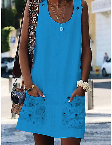 abordables Robes Femme-Femme Basique Au dessus du genou Trapèze Robe - Imprimé, Fleur Blanche Orange Jaune S M L Sans Manches