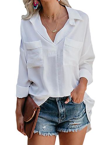 Skjorte Dame - Ensfarget Grunnleggende Hvit