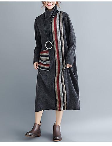 abordables Robes Femme-Femme Basique Midi Trapèze Robe Couleur Pleine Noir Gris M L XL Manches Longues