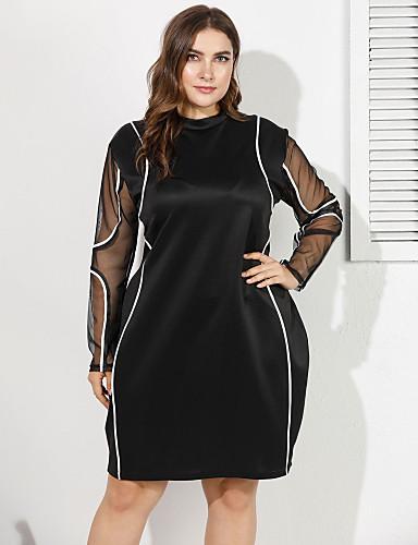 voordelige Grote maten jurken-Dames Street chic Elegant Bodycon Schede Jurk - Effen Tot de knie Rood