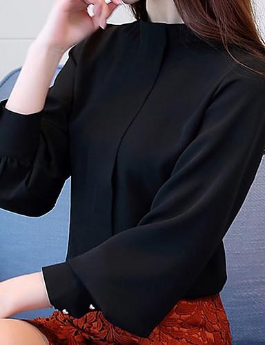 abordables Hauts pour Femmes-Chemise Femme, Couleur Pleine Elégant Noir