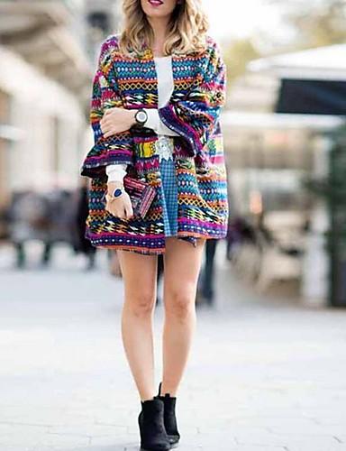 abordables Manteaux & Vestes Femme-Femme Quotidien Normal Manteau, Géométrique Col en V Manches Longues Polyester Violet
