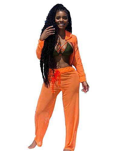 billige Dametopper-Oransje Ensfarget Skreddersydd / Standard Elastan Dress - Buet Ingen Knapp