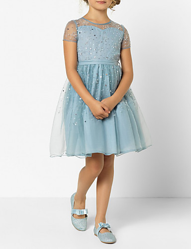 Djeca Djevojčice slatko Jednobojni Mrežica Kratkih rukava Iznad koljena Haljina Plava / Pamuk