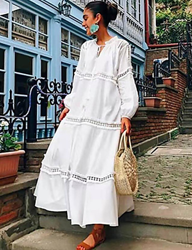 baratos Vestidos de Mulher-Mulheres Boho Sofisticado Reto Vestido - Frufru Franjas Cordões, Listrado Longo Margarida Cauda de Sereia Feras Fantásticas