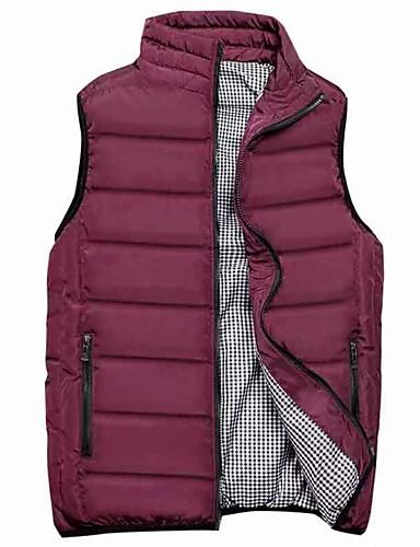 voordelige Heren donsjassen & parka's-Heren Effen Normaal Vest, Polyester Zwart / Wijn / Licht Blauw US32 / UK32 / EU40 / US34 / UK34 / EU42 / US36 / UK36 / EU44
