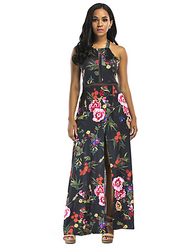 voordelige Maxi-jurken-Dames Elegant Bodycon Jurk - Bloemen Geometrisch Asymmetrisch