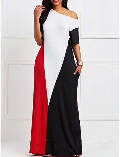 billige Kjoler-Dame T skjorte Kjole - Fargeblokk Maksi