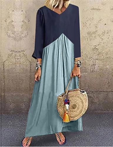 abordables Robes Femme-Femme Maxi Courte Robe Bloc de Couleur Bleu clair Violet Vert Véronèse S M L Manches Longues