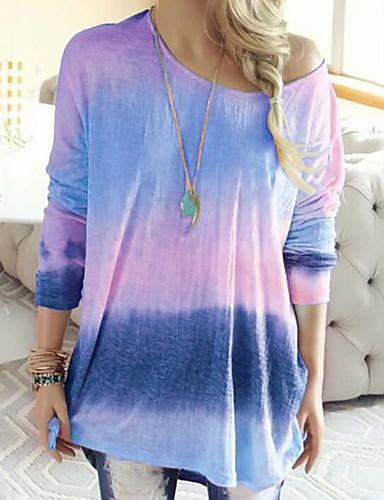 billige Dametopper-T-skjorte Dame - 3D / Batikkfarget, Lapper / Trykt mønster Grunnleggende / Punk & Gotisk Rosa