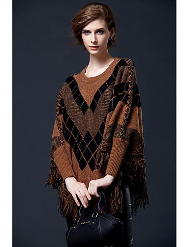 abordables Hauts pour Femmes-Femme Couleur Pleine Manches Longues Pullover, Col Arrondi Printemps / Automne Rouge / Chameau / Vert Taille unique