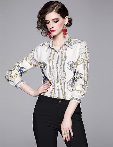 billige Topper til damer-Skjorte Dame - Grafisk, Trykt mønster Vintage / Elegant Lyseblå
