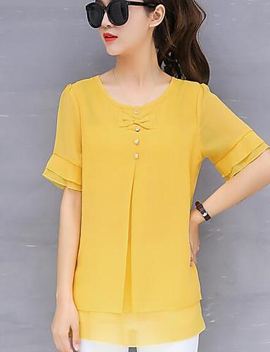 abordables Hauts pour Femme-Tee-shirt Femme, Couleur Pleine Perlé / Noeud / A Volants Business / Basique Rose Claire