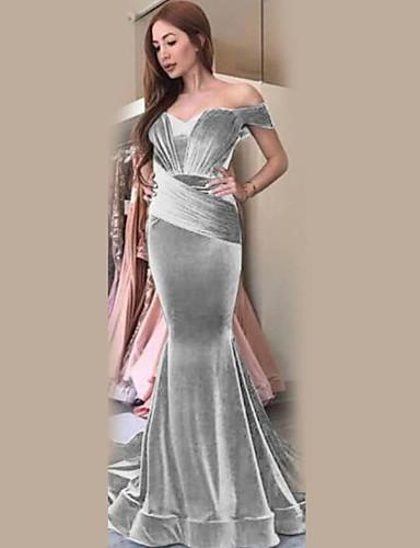 abordables Robes Femme-Femme Elégant Maxi Trompette / Sirène Robe Couleur Pleine Vin Argent Bleu S M L Manches Courtes