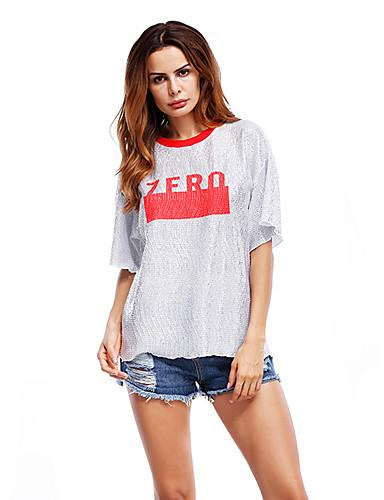 billige Dametopper-T-skjorte Dame - Bokstaver, Trykt mønster Grunnleggende Rød