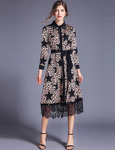 billige Kjoler-Dame Elegant A-linje Kjole - Leopard, Blondér Lapper Midi