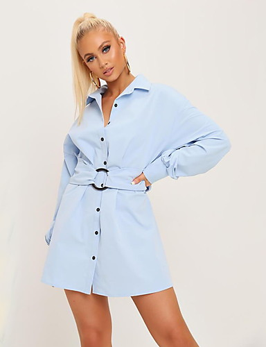 abordables Robes Femme-Femme Basique Au dessus du genou Chemise Robe Couleur Pleine Bleu clair Blanche S M L Manches Longues