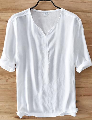 voordelige Herenoverhemden-Heren Standaard Overhemd Effen Licht Blauw