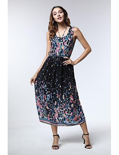 Kadın's Boho A Şekilli Elbise - Geometrik Midi