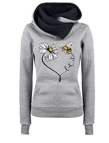abordables Hauts pour Femmes-Femme Simple Sweat à capuche Fleur
