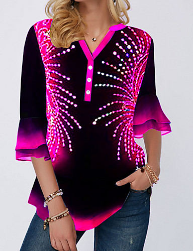 povoljno Ženske majice-Majica s rukavima Žene - Ulični šik Dnevno Color block Fuksija