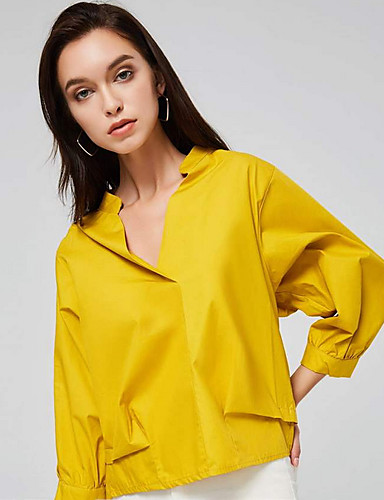 Kadın's Gömlek Solid Temel Beyaz