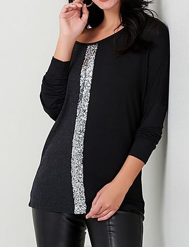 povoljno Ženske majice-Majica s rukavima Žene - Osnovni Dnevno Color block Šljokice Svjetloplav