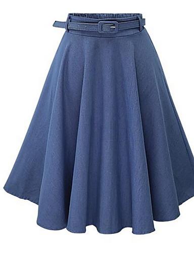 abordables Jupes-Femme Chic de Rue Trapèze Jupes - Couleur Pleine Bleu clair Bleu Taille unique