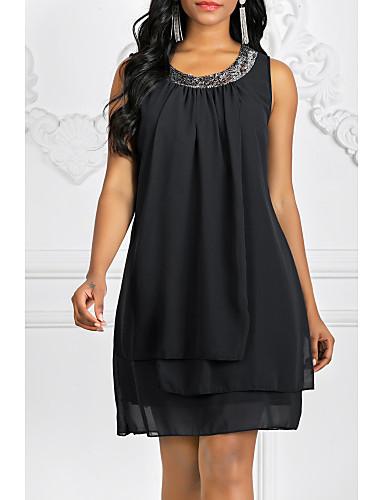 hesapli Mini Elbiseler-Kadın's Büyük Bedenler Dışarı Çıkma Şifon Elbise - Solid Mini