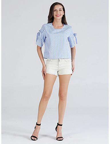 billige Dametopper-Skjorte Dame - Rutet, Sløyfe Grunnleggende Blå