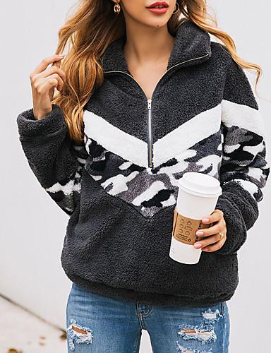 abordables Hauts pour Femmes-Femme Simple / Basique Sweatshirt camouflage