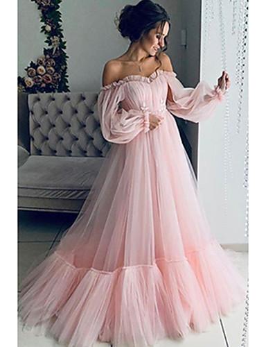 voordelige Maxi-jurken-Dames Standaard Wijd uitlopend Jurk - Effen, Geplooid Maxi