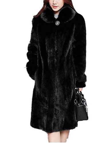abordables Manteaux & Vestes Femme-Femme Quotidien Automne hiver Grandes Tailles Longue Manteau en Fourrure, Couleur Pleine Col rabattu Manches Longues Fausse Fourrure Marron / Noir
