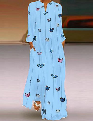 abordables Robes Femme-Femme Bohème Maxi Trapèze Robe - Imprimé, Animal Papillon Bleu clair Blanche Rose Claire S M L Manches Longues