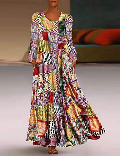 voordelige Maxi-jurken-Dames Wijd uitlopend Jurk - Kleurenblok Maxi