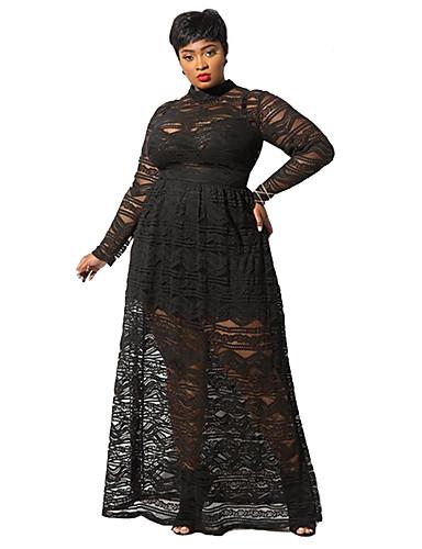 voordelige Grote maten jurken-Dames Street chic Elegant A-lijn Schede Jurk - Effen, Kant Geplooid Maxi Rood