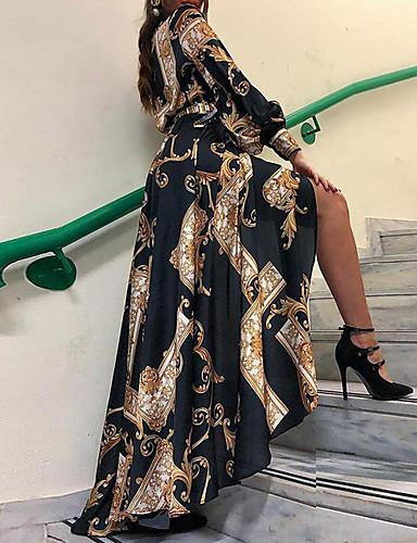 cheap Print Dresses-Women's Shirt Dress - Geometric Black S M L XL
