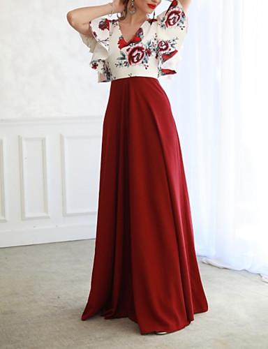 Žene Ulični šik A kroj Haljina - Print, Cvjetni print Duboki V Maxi