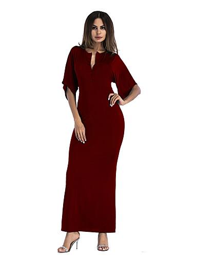 abordables Robes Femme-Femme Elégant Asymétrique Balançoire Robe Couleur Pleine Noir Vin Jaune S M L Sans Manches