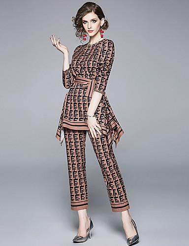 hesapli İki Parça Kadın Takımları-Kadın's Temel Gömlek Geometrik Pantolon