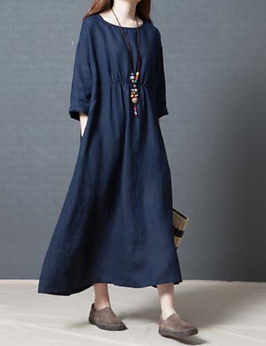Kadın's Temel Kombinezon Elbise - Solid Midi