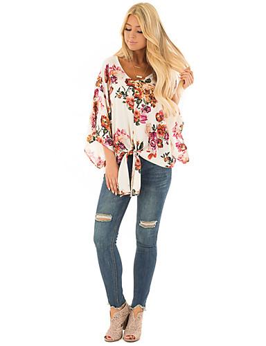 billige Topper til damer-T-skjorte Dame - Blomstret, Lapper / Trykt mønster Grunnleggende Rose Rosa