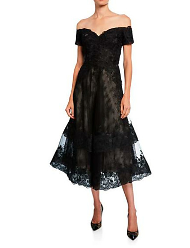 voordelige Korte jurken-A-lijn Schouderafhangend Over de knie Kant Bruidsmoederjurken met Kant door LAN TING Express