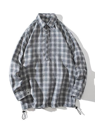 voordelige Herenoverhemden-Heren Street chic Print Overhemd Blokken Wit Lichtgrijs