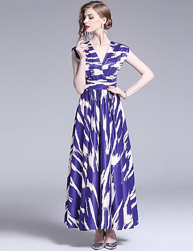billige Kjoler-A-linje V-hals Ankellang Polyester Kjole til brudens mor med Mønster / trykk / Ruchiing av LAN TING Express